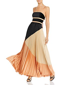 Marella - Obbia Pleated Color-Blocked Maxi Dress