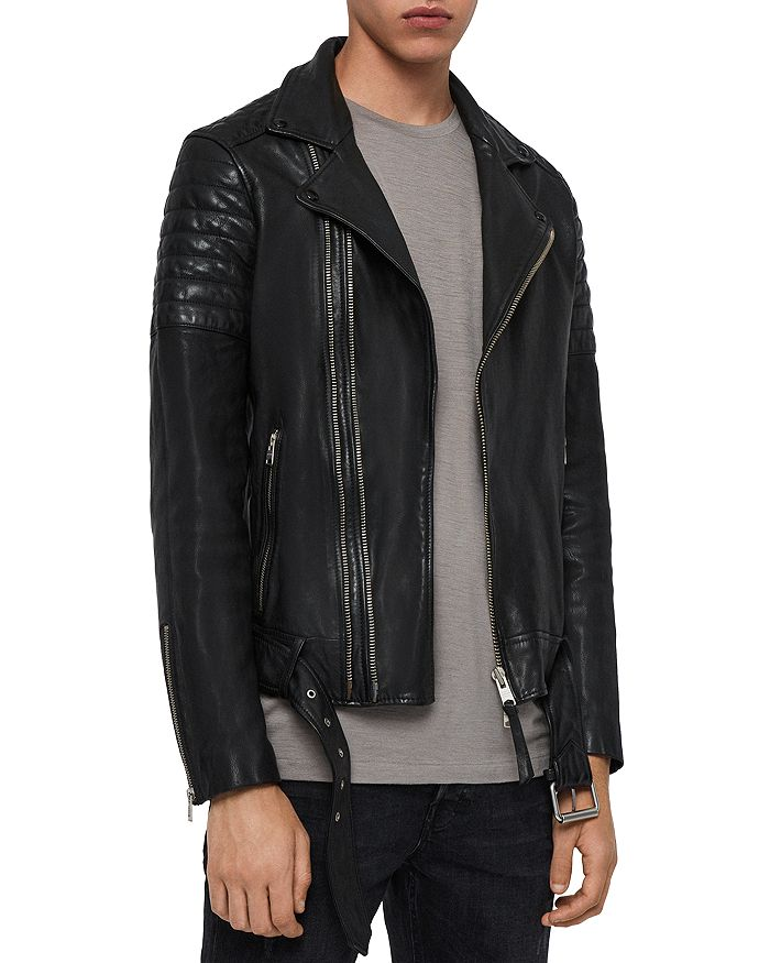 Allsaints Bolt Leather Biker Jacket In Black