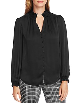 VINCE CAMUTO - Smocked Detail Button-Down Top