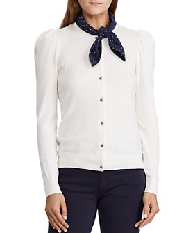 Ralph Lauren - Tie-Neck Puff Sleeve Cardigan