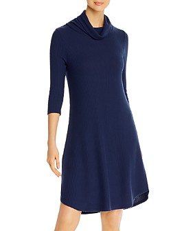 Three Dots - Ribbed Cowl-Neck Relaxed Dress