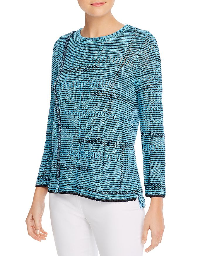 NIC and ZOE - Open-Knit Fringed Sweater