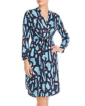 NIC and ZOE - Vivid Giraffe Tie-Waist Shirt Dress