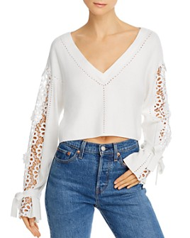 FRENCH CONNECTION - Leona Cropped Lace-Detail Sweater