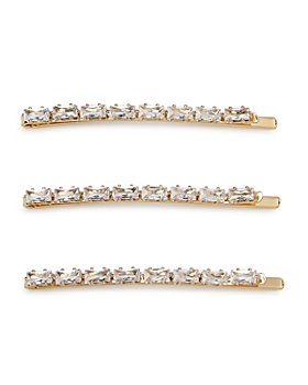 AQUA - Baguette Rhinestone-Encrusted Bobby Pins, Set of 3 - 100% Exclusive