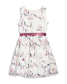 US Angels - Girls' Floral Appliqué Belted Dress - Little Kid