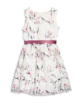 US Angels - Girls' Floral Appliqué Belted Dress - Little Kid