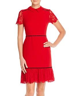 KARL LAGERFELD PARIS - Banded Lace-Detail Dress