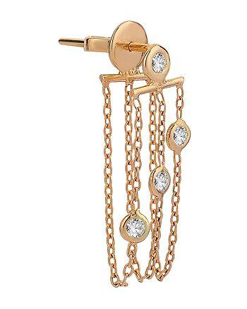 Kismet By Milka - 14K Rose Gold Diamond Chain Earring