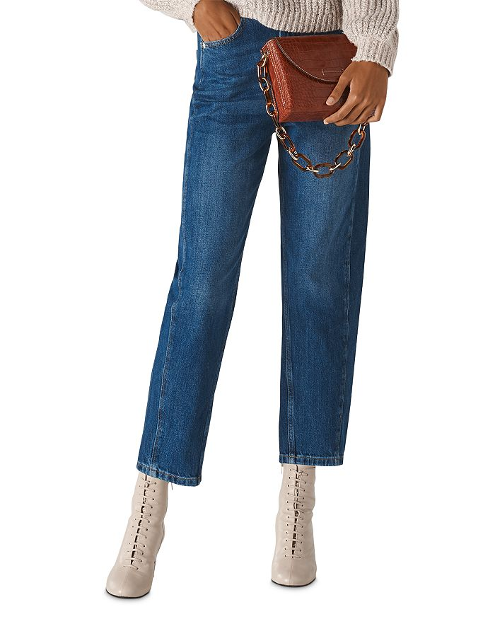 Whistles - High-Rise Cropped Barrel-Leg Jeans in Denim