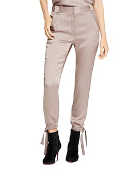 HALSTON - Satin Tie-Detail Pants