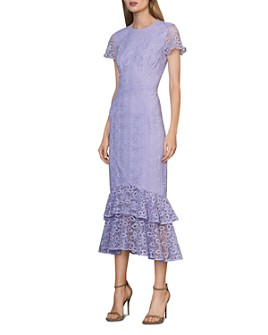 ML Monique Lhuillier - Tiered-Ruffle Lace Midi Dress