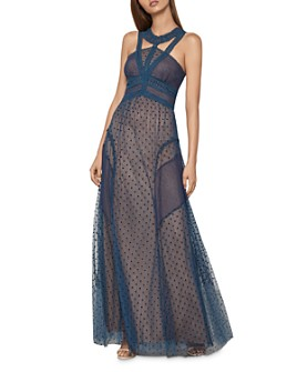 BCBGMAXAZRIA - Lace-Trim Flocked Tulle Gown