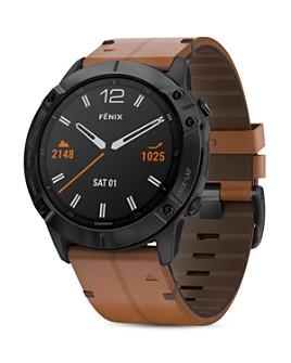 Garmin - Fenix 6X Chestnut Leather Strap Smartwatch, 51mm