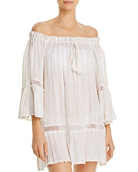 Surf Gypsy - Sequin-Striped Off-the-Shoulder Tunic Swim Cover-Up