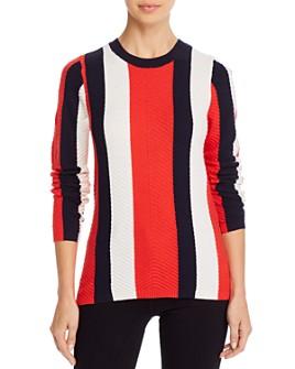 Minnie Rose - Striped Chevron-Stitch Sweater