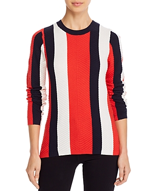 Minnie Rose Striped Chevron-Stitch Sweater