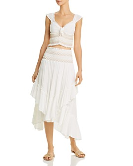 Surf Gypsy - Smocked Ruffled Top & Midi Skirt Swim Cover-Ups