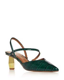 KURT GEIGER LONDON - Women's Della Croc-Embossed Slingback Pumps