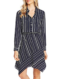 VINCE CAMUTO - Striped Asymmetric-Hem Dress