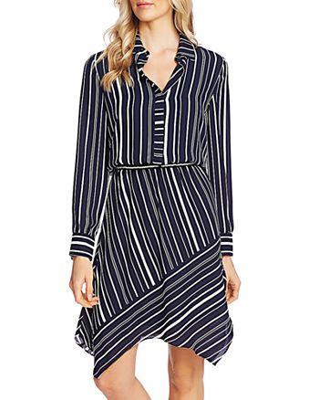 VINCE CAMUTO - Striped Asymmetric-Hem Dress