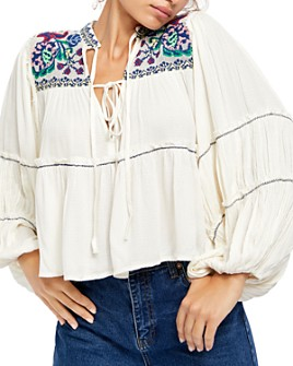 Free People - In Vivid Color Embroidered Peasant Top
