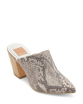 Dolce Vita - Women's Angela Snake-Print Stacked Heel Mules