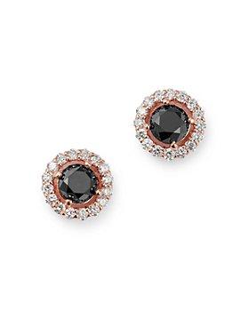 Bloomingdale's - Black & White Diamond Halo Stud Earrings in 14K Rose Gold - 100% Exclusive