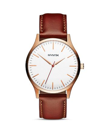 MVMT - The 40 Series White-Dial Brown-Strap Watch, 40mm