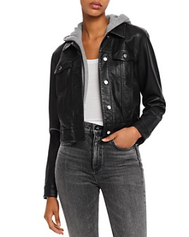 AQUA - Layered-Look Faux Leather Trucker Jacket - 100% Exclusive