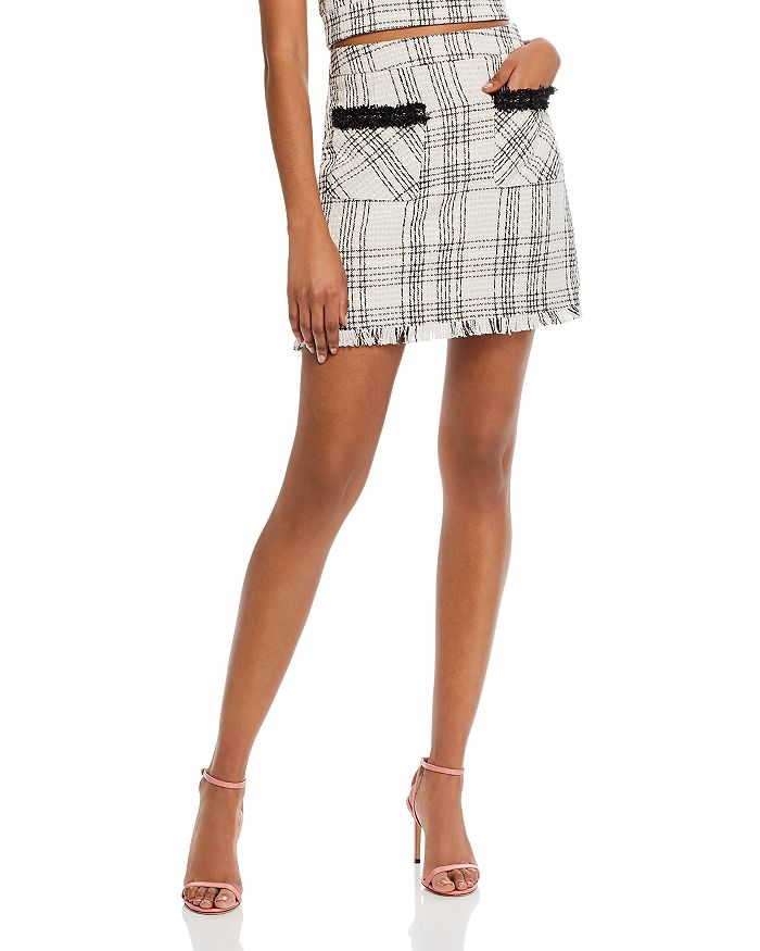 AQUA - Plaid Tweed Mini Skirt - 100% Exclusive