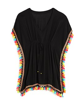 PQ Swim - Girls' Tassel Poncho Swim Cover-Up - Big Kid