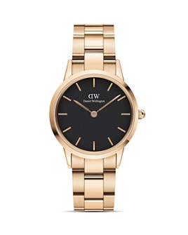 Daniel Wellington - Black Dial Rose Gold-Tone Link Bracelet Watch, 28mm-32mm
