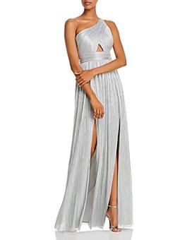 Aidan by Aidan Mattox - One-Shoulder Metallic Pleated Gown