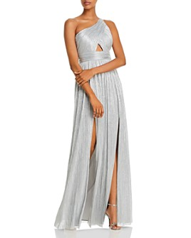 Aidan by Aidan Mattox - One-Shoulder Metallic Pleated Gown