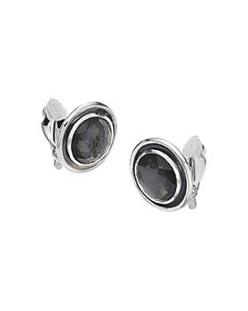 IPPOLITA - Sterling Silver Ondine Hematite, Clear Quartz & Black Shell Clip-On Earrings