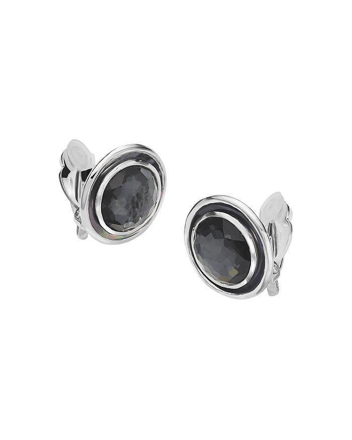 IPPOLITA - Sterling Silver Ondine Hematite, Clear Quartz & Black Shell Clip-On Earrings