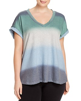 B Collection by Bobeau Curvy - Dip-Dyed Short Sleeve Top