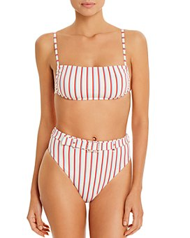 WeWoreWhat - Leigh Bandeau Striped Bikini Top & Emily Striped Bikini Bottom