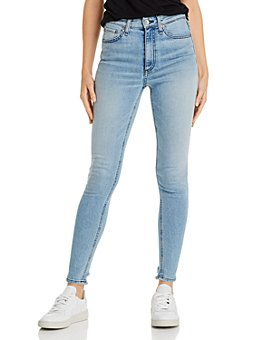 rag & bone - Nina High-Rise Distressed-Hem Skinny Jeans in Sailortown