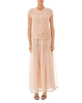 Peserico - Cable Knit-Bodice Maxi Dress