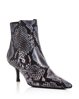 Anine Bing - Women's Ava Snake-Embossed Kitten-Heel Booties