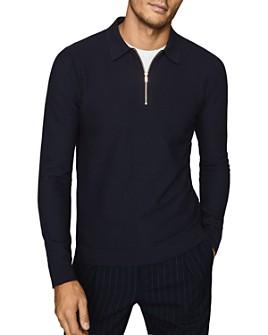 REISS - Matias Textured-Stitch Half-Zip Sweater