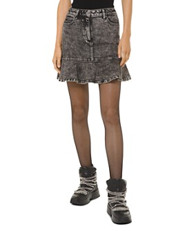 MICHAEL Michael Kors - Flounced Acid-Washed Denim Midi Skirt