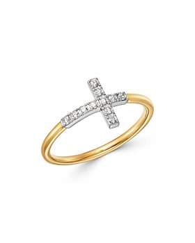 Bloomingdale's - Diamond Cross Ring in 14K Yellow & White Gold, 0.15 ct. t.w. - 100% Exclusive