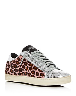 P448 - Women's John Calf Hair Embellished Low-Top Sneakers