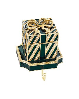 Olivia Riegel - Striped Gift Box Crystal & Pewter Stocking Holder