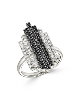 Bloomingdale's - Black & White Deco Statement Ring in 14K White Gold  - 100% Exclusive