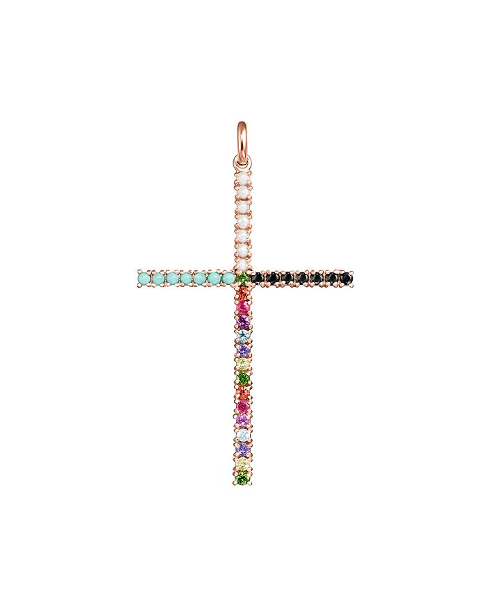 TOUS - 18K Rose Gold-Plated Sterling Silver Rainbow Gemstone Cross Pendant