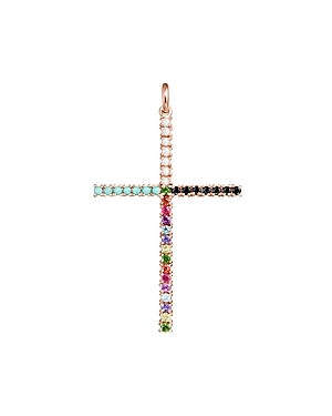 Tous 18K Rose Gold-Plated Sterling Silver Rainbow Gemstone Cross Pendant